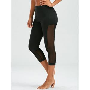 Mesh Insert Cropped High Waist Leggings - Black - S