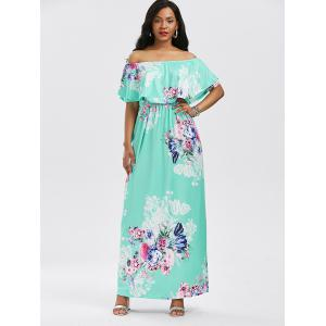 High Waist Flounce Floral Printed Maxi Dress - COLORMIX S
