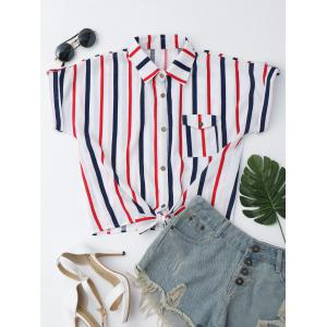 Striped Knotted Button Up Shirt - White - S