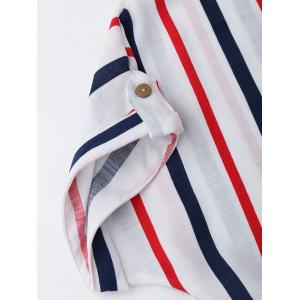 Striped Knotted Button Up Shirt - WHITE M