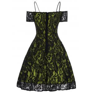 Vintage Spaghetti Strap Lace Dress - Jaune L
