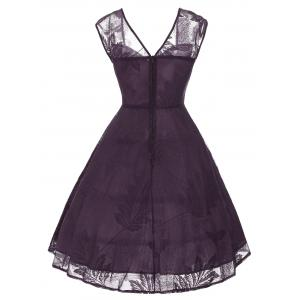 Vintage Bowknot Lace Fit et Flare Dress - Pourpre S