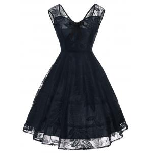 Vintage Bowknot Lace Fit and Flare Dress