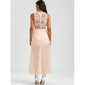 Floral Embroidered Mesh Panel Maxi Romper - APRICOT L