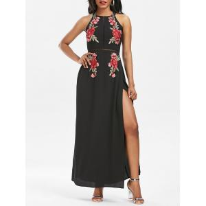 Embroidered Backless Thigh High Slit Maxi Dress - Black - S
