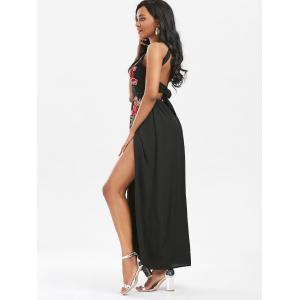 Embroidered Backless Thigh High Slit Maxi Dress - BLACK M