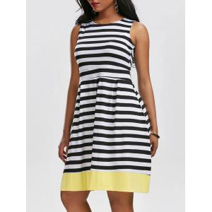Vintage Striped Contrast High Waist Dress