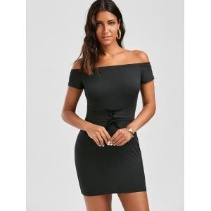 Off The Shoulder Bodycon Lace Up Dress -