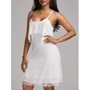 Self Tie Flounce Lace Panel Dress