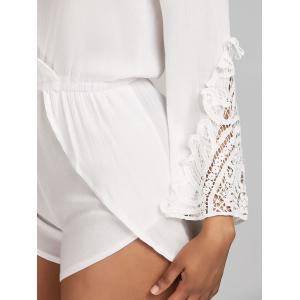 Lace Insert Surplice Backless Romper -