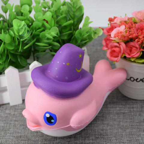 Online Cartoon Squishy Toy Scented Simulation Magic Hat Dolphin PINK
