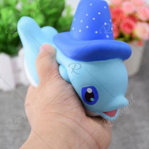 Fashion Cartoon Squishy Toy Scented Simulation Magic Hat Dolphin - BLUE  Mobile