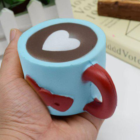 Fancy Slow Rising Squishy Toy Heart Bowknot Simulation Mug - BLUE  Mobile
