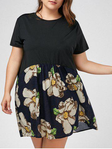 Fashion Plus Size Mini Floral Printed  T-shirt Dress BLACK XL