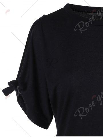 Discount Bowknot Cold Shoulder Tee - S BLACK Mobile