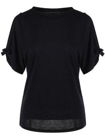 Outfits Bowknot Cold Shoulder Tee - XL BLACK Mobile