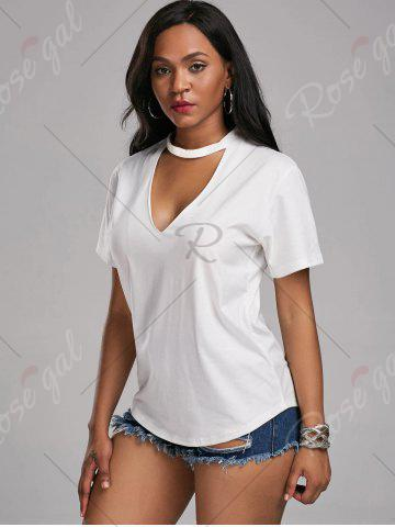 Cheap Plunging Neck Choker T Shirt - S WHITE Mobile