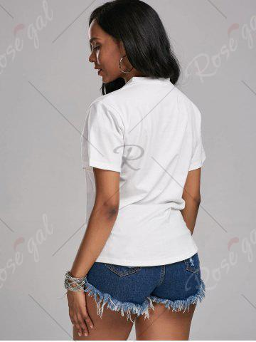 Sale Plunging Neck Choker T Shirt - S WHITE Mobile