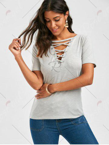 Latest Casual Lace Up Cut Out T Shirt - XL GRAY Mobile