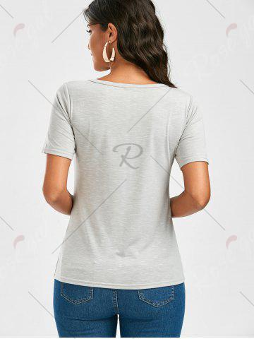 Best Casual Lace Up Cut Out T Shirt - XL GRAY Mobile