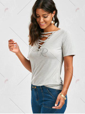 Unique Casual Lace Up Cut Out T Shirt - XL GRAY Mobile