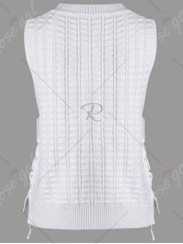 Unique Knit Lace Up Sweater Vest - ONE SIZE WHITE Mobile