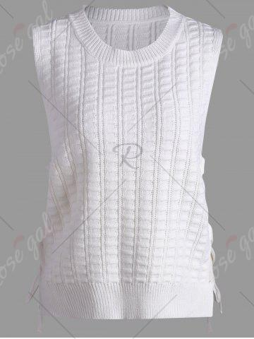 Shop Knit Lace Up Sweater Vest - ONE SIZE WHITE Mobile