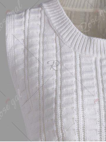 Cheap Knit Lace Up Sweater Vest - ONE SIZE WHITE Mobile