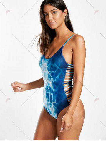 Sale Ombre Side Ladder Cutout One Piece Swimsuit - M BLUE Mobile