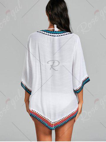 Chic Crochet Tunic Boho Cover Up Dress - ONE SIZE WHITE Mobile