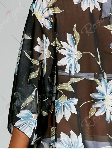 Affordable See Thru Chiffon Floral Kimono Beach Cover Up - ONE SIZE BLACK Mobile