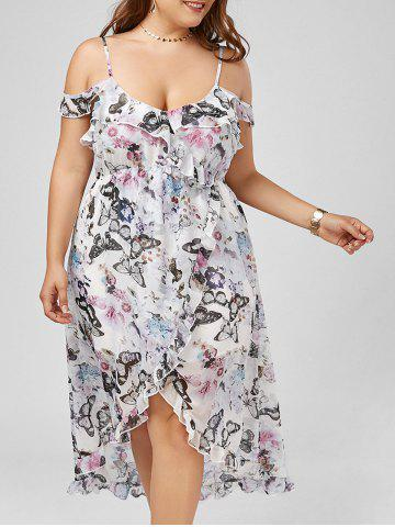 Best Cold Shoulder Butterfly Print Maxi Plus Size Slip Dress FLORAL 5XL