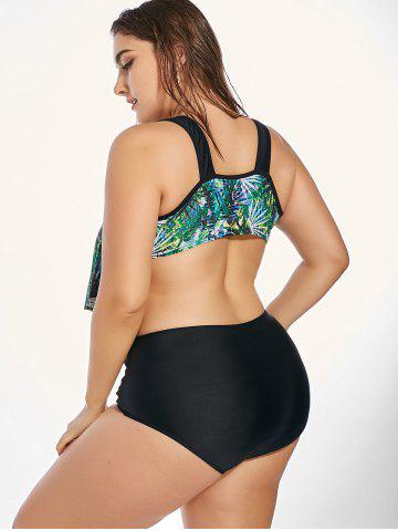 New Plus Size  Flounce Tropical Printed Bikini Swimsuit - 2XL GREEN Mobile