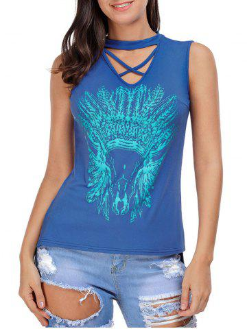 Trendy Crisscross Printed Sleeveless Choker Top BLUE L