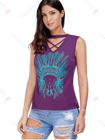 Outfits Crisscross Printed Sleeveless Choker Top - S PURPLE Mobile