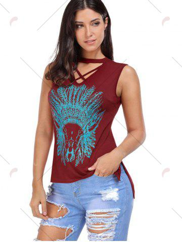 Hot Crisscross Printed Sleeveless Choker Top - S WINE RED Mobile