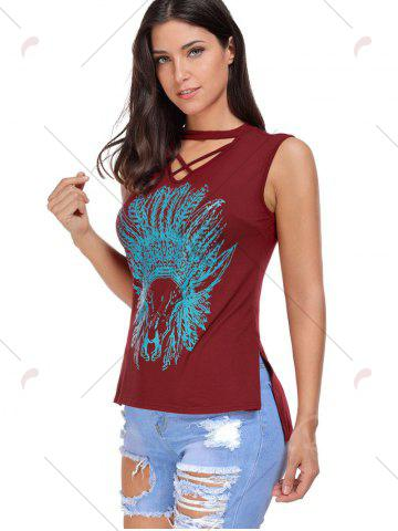 Fashion Crisscross Printed Sleeveless Choker Top - S WINE RED Mobile