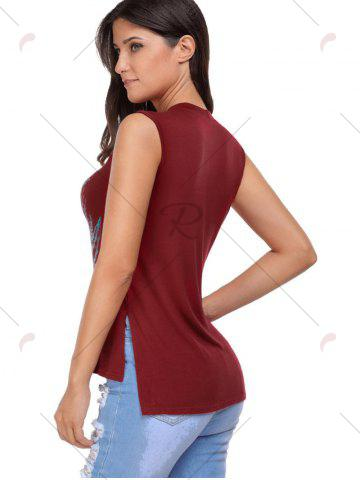 Cheap Crisscross Printed Sleeveless Choker Top - S WINE RED Mobile