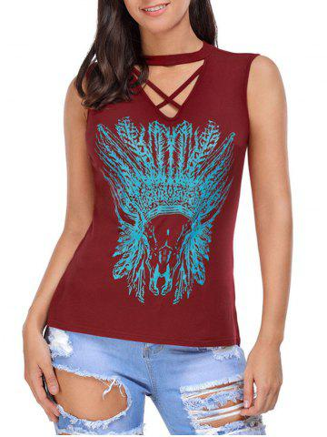 Fashion Crisscross Printed Sleeveless Choker Top - L WINE RED Mobile