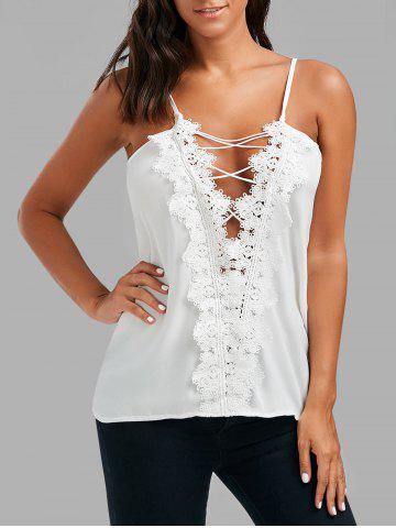 Lace Up Lace Low Cut Cami Top - White - Xl