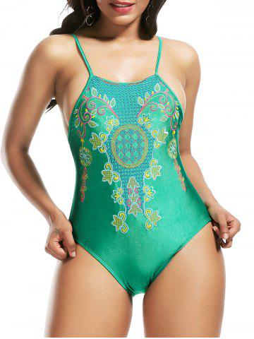 Outfits High Neck Cross Back Embroidered Swimsuit - S GREEN Mobile