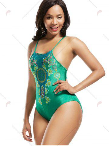 New High Neck Cross Back Embroidered Swimsuit - S GREEN Mobile