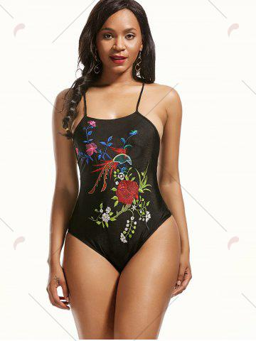 Chic Cross Back Floral Embroidered Swimsuit - S BLACK Mobile