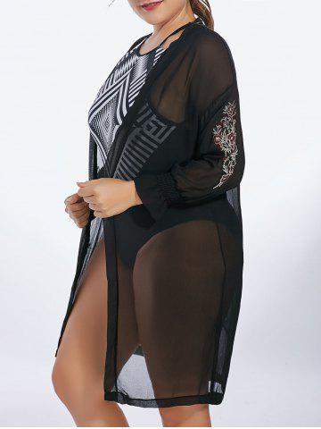 Affordable Plus Size Sheer Long Sleeve Chiffon Cover Up Kimono - 3XL BLACK Mobile