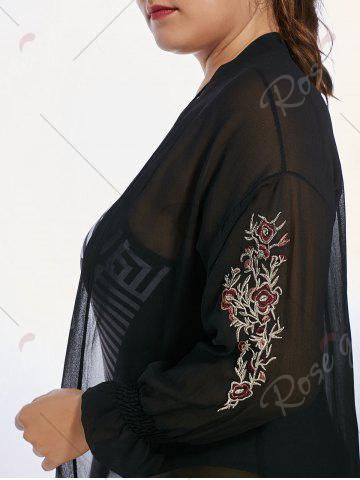 Online Plus Size Sheer Long Sleeve Chiffon Cover Up Kimono - 3XL BLACK Mobile