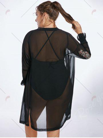 Outfit Plus Size Sheer Long Sleeve Chiffon Cover Up Kimono - 3XL BLACK Mobile