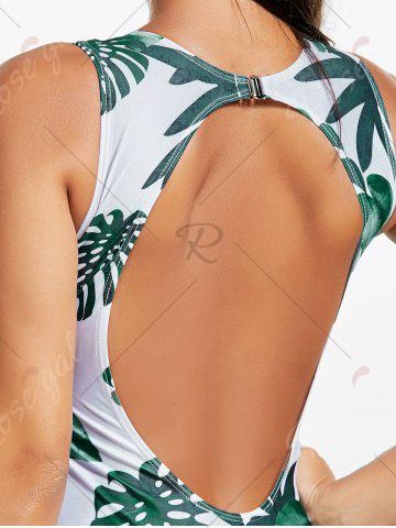 Outfit Backless Tropical Jungle Print One Piece Swimsuit - S GREEN Mobile