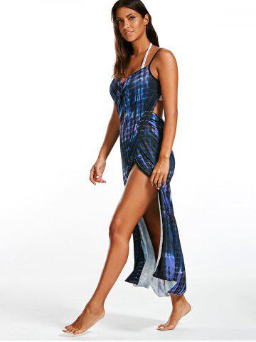 Buy Illusion Print Wrap Cover Up Dress - ONE SIZE BLUE Mobile