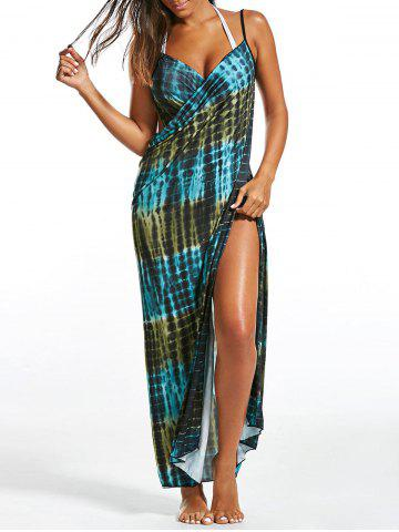 Buy Illusion Print Wrap Cover Up Dress - ONE SIZE GREEN Mobile