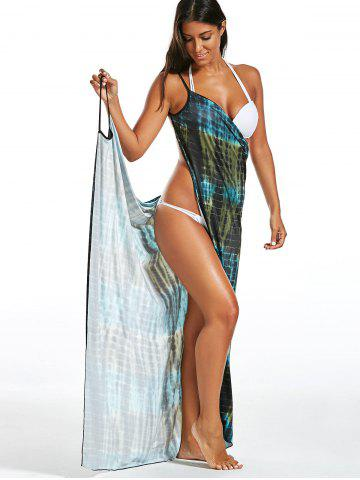 Shops Illusion Print Wrap Cover Up Dress - ONE SIZE GREEN Mobile